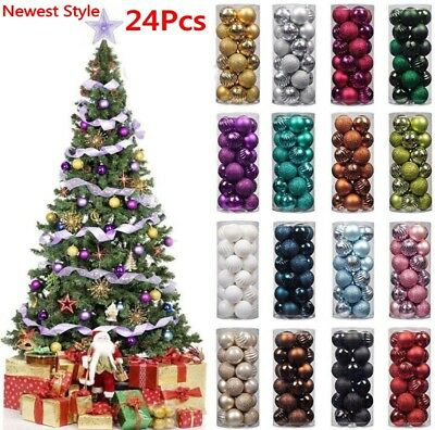 24Pcs Glitter Christmas Baubles Ornament Ball Home PartyXmas Tree Decor 2019