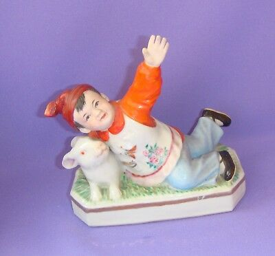 Boy with rabbit Chinese Vintage Porcelain Figurine Statue Jingdezhen CHINA 1950s