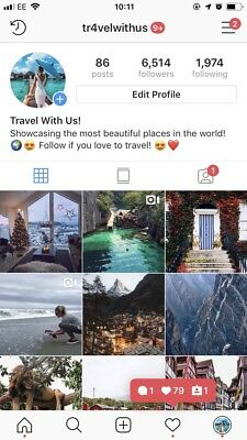 Two Travel Instagram Accounts Total 22.6K - All Real - HQ - BARGAIN!