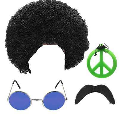 Hippie Hippy Afro Wig Medallion Moustache Sunglasses 1970S 70S Fancy Dress
