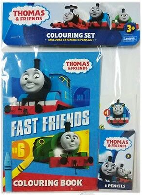 Thomas & Friends The Tank Engine COLOUR IN Colouring Set Stickers & Pencils