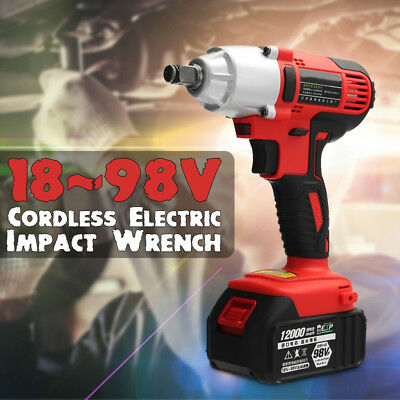 98V Cordless Lithium-Ion Electric Impact Wrench Brushless Motor 5000RPM 2Battery