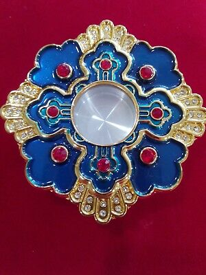 """2.8"""" Personal Reliquary Relic Case Gold Plated Blue Enamel 48 Shining Stones"""