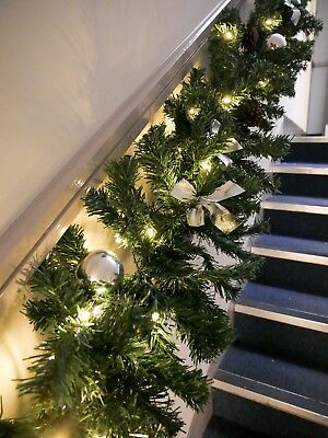 Large 9FT Garland With Baubles & Pinecones LED Staircase Christmas Decoration