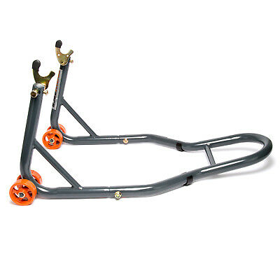 MPW Race Dept - Motorcycle Rear Paddock Stand with V-Adapters in Grey/Orange