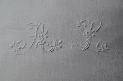 Antique French AL floral monogrammed pillow case, hand made crochet lace edge