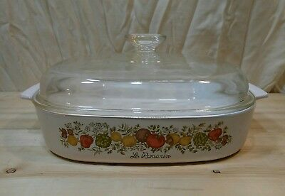 """Corning ware A-10-B """"Spice of life"""" 9""""3/4 X 9""""3/4 X 2"""" casserole dish dome lid"""