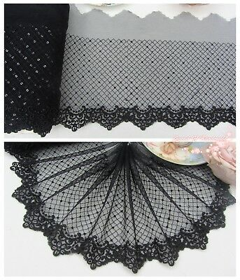 "7""*1Y Embroidered Tulle Lace Trim~Sequined~Black~Gorgeous~Sewing/DIY/Costume~"