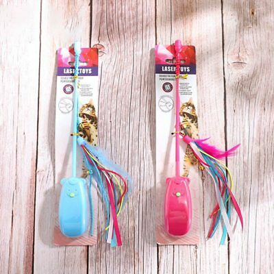 Cat Teaser Interactive Toy 2in1 Tease Cat Wand Toy Red Light Exercising Toys USA