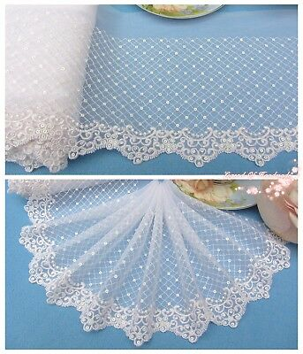 "7""*1Y Embroidered Tulle Lace Trim~Sequined~White~Sewing/Wedding/Bridal~Gorgeous~"