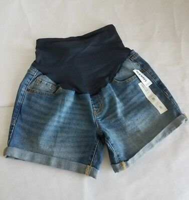 NWT Old Navy Maternity Full Panel Cuffed Jean Shorts Women's Sz 8