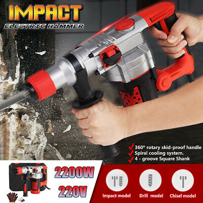 2200W Demolition Rotary Jack Hammer Impact Drill Electric Concrete Breaker Sets