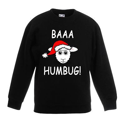 Baaa Humbug Sheep Santa Hat Christmas Funny Childrens Kids Sweatshirt Jumper