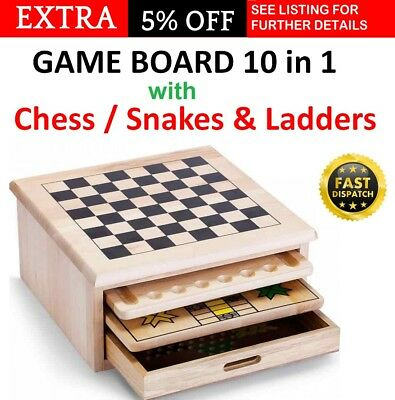 Board Game Chess 10 in 1 Portable Wooden Snakes and Ladders Adults Children NEW