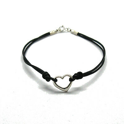 Sterling silver bracelet genuine hallmarked solid 925 Heart with string