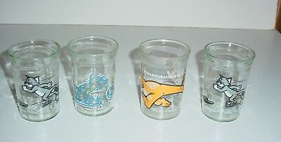 Lot Of 4 Vintage Welch's Jelly Jar Glasses, Tom & Jerry, Tyrannosaurus Rex