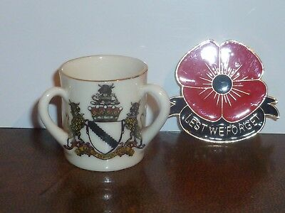 WH GOSS Crested China Loving Cup. Arms of James Ratcliffe, Cumberland & Keswick