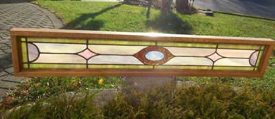 Antique STAINED LEADED GLASS WINDOW  ( TRANSOM  / SIDELIGHT )