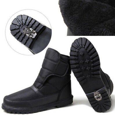 Mens Waterproof Snow Winter Boots Thermal Fur Lined Work Hiking Shoes Grip sole