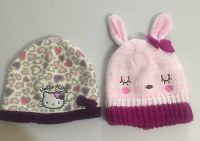 Big Kids Girls Hats (2) Hello Kitty & Bunny ears design, Used few times only.