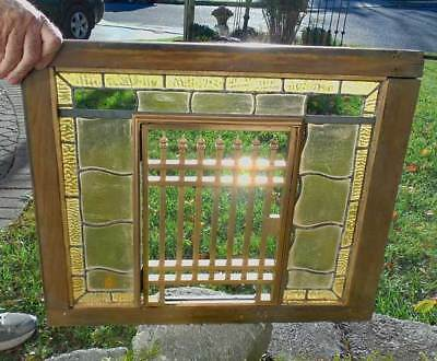 ANTIQUE STAINED LEADED  Bank TELLER'S WINDOW  ( RARE )
