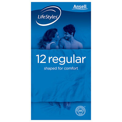 NEW Ansell Lifestyles Condom Regular 12 Pack Condoms Contraceptives