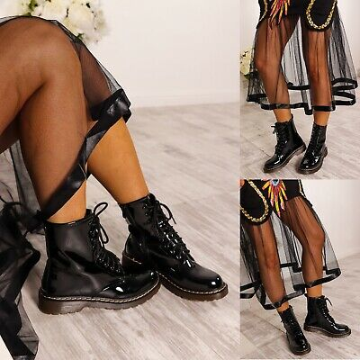 Ladies Womens Low Block Heel Ankle Combat Doc Chunky Lace Up Dm Boots Size 3-8