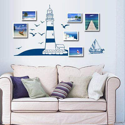Lighthouse Seagull Sailboat PVC Art Wall Stickers Removable Living Room sdf