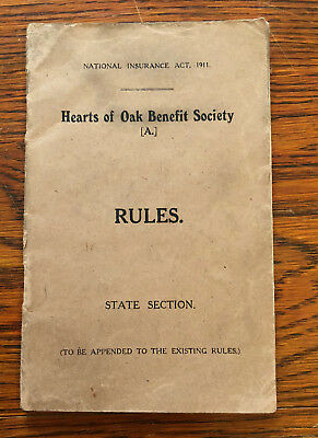 Hearts of Oak Benefit Society 'RULES' Book c1911