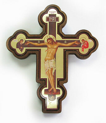 Greek Russian Orthodox Handmade Wooden Wall Cross Lithography Icon Crucifix #28