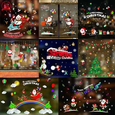 Christmas Xmas Santa Removable Window Stickers Art Decal Wall Home Shop Decor hy