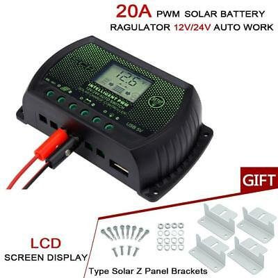 20A 12V 24V PWM Auto Solar Panel Charge Controller Regulator + 4pcs Z Bracket BW