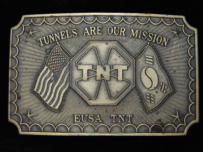 PK11103 1970s **TUNNELS ARE OUR MISSION EUSA TNT** SOLID BRASS MILITARY BUCKLE