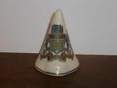WH GOSS Crested China Conical Candle Snuffer. Crest of City of Westminster