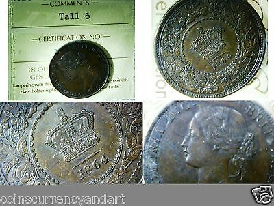 1864 New Brunswick Large Cent, TALL 6