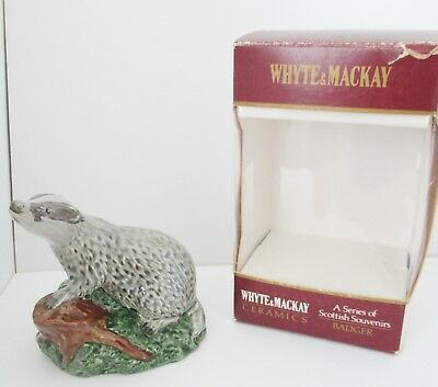 Beswick Whyte & Mackay Scotch Whisky Badger Flask.  Modelled By JG Tongue. 1981.