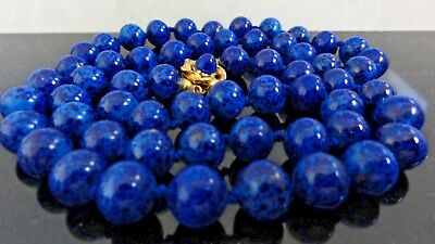 Art Deco Stunning Royal Marbled Blue Peking Glass Gold Flakes Beads Necklace