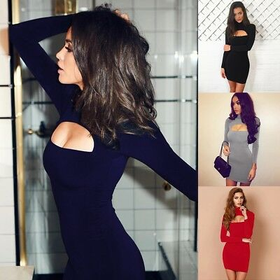 Women Sexy Cut Out Bodycon Party Mini Dress Ladies Long Sleeve Evening Dress Lot