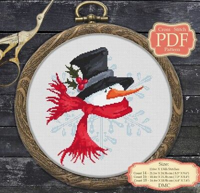 Snowman - Cartoon - Christmas / New Year - Modern Cross stitch PDF Pattern - 045