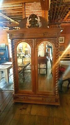 Huge Victorian Walnut Wardrobe - Armoire W Beveled Mirrors