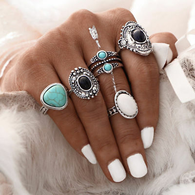 5pcs Girl Women Bohemian Vintage Silver Stack Rings Above Knuckle Blue Rings Set