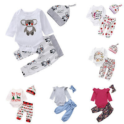 3pcs Newborn Baby Girls Boy Rompers Pant Headband/Hat Outfits Cotton Clothes Set