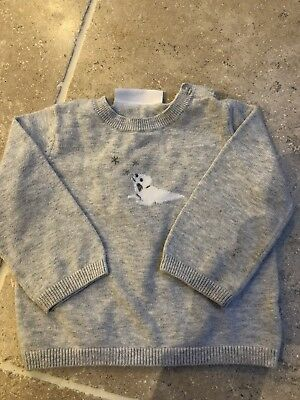 The Little White Company Boys Grey Jumper 3-6 Months