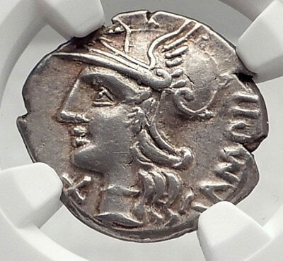 Roman Republic 137BC Rome Apollo Chariot Original Ancient Silver Coin NGC i73144