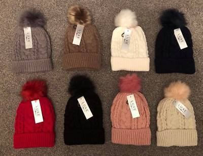 Luxe Detatchable Faux Fur Knitted & Fur Lined Bobble Hat. 8 Colours Available.