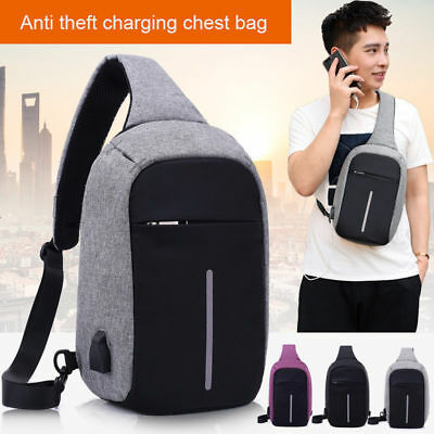 Men's Backpack Sling Sports Crossbody Port Anti-theft Travel Bag  USB Charging