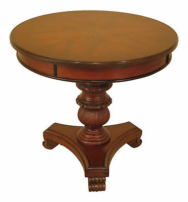 F46187EC: Round Cherry Inlaid Top Occasional Living Room Table