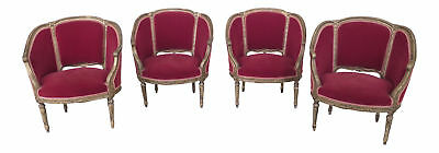 F46162EC/63EC: Set Of 4 French Louis XV Style Gold & Red Velvet Parlor Chairs