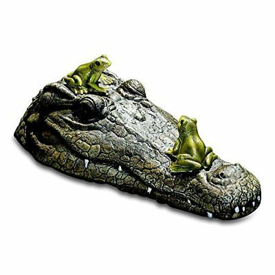 Whole House Worlds The Floating Crocodile Head with 2 Frogs, Garden Art or Decoy