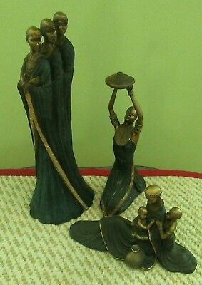 Lot of 3...African American Tribal Women Statue Figure Art. By Seymour Mann